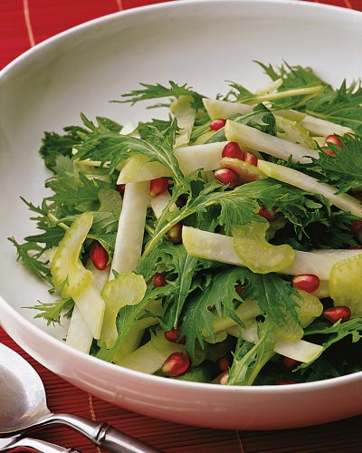 Mizuna Salad with Kohlrabi and Pomegranate Seeds.