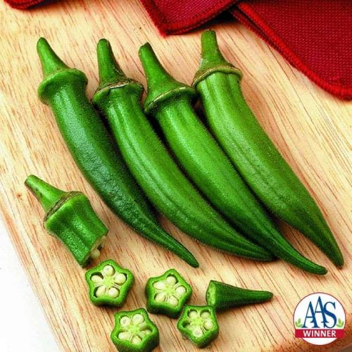 Okra Cajun Delight F1 - 1997 AAS Edible - Vegetable Winner - 3 to 5 inch green pods produced in about 50 to 55 days.