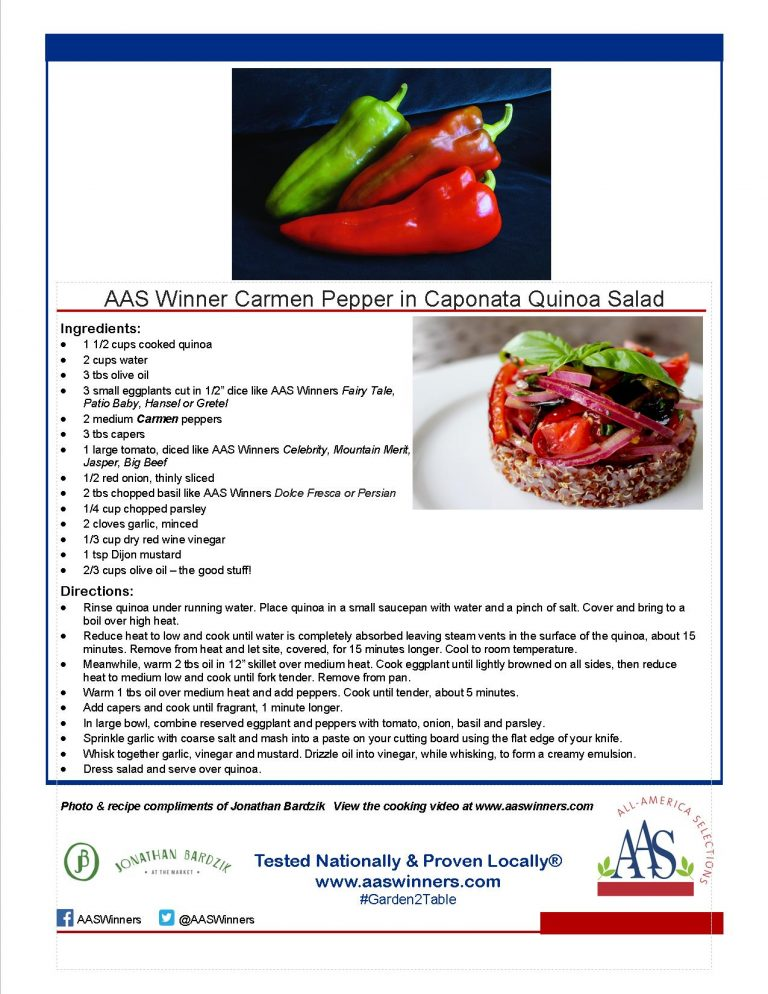 AAS Winner Carmen Pepper in Caponata Quinoa Salad