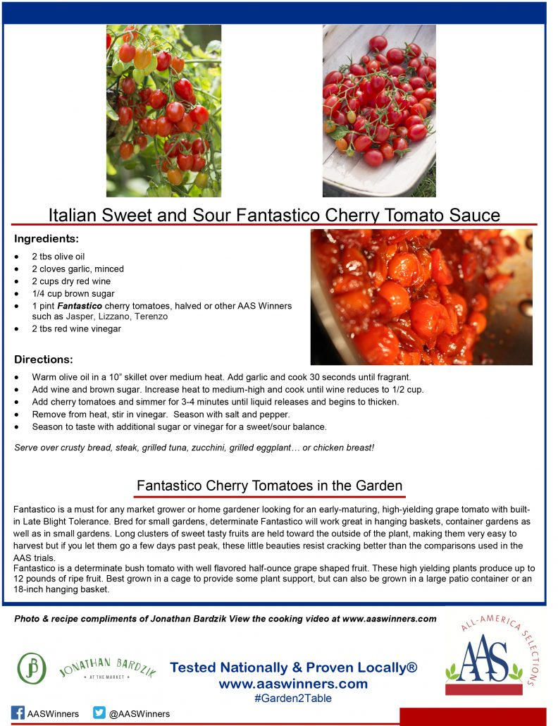 AAS Winner Fantastico in Italian Sweet and Sour Fantastico Cherry Tomato Sauce Recipe Card