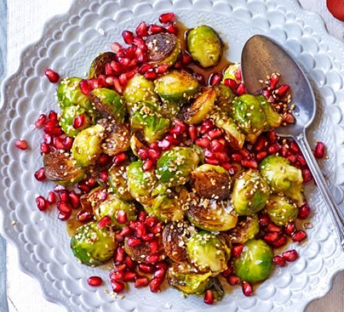 burnt-sprouts-with-pomegranate-sesame