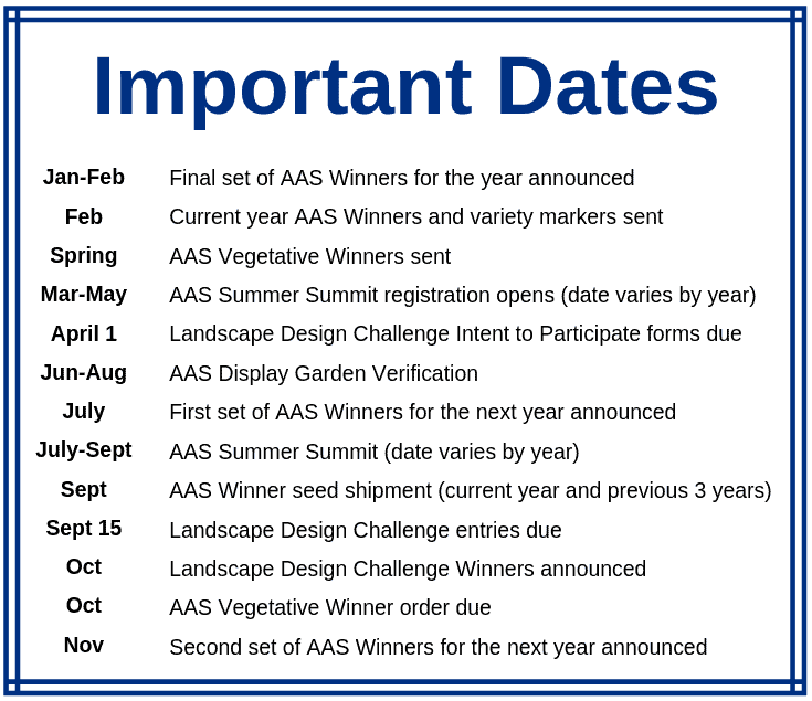 AAS Display Garden Important Dates